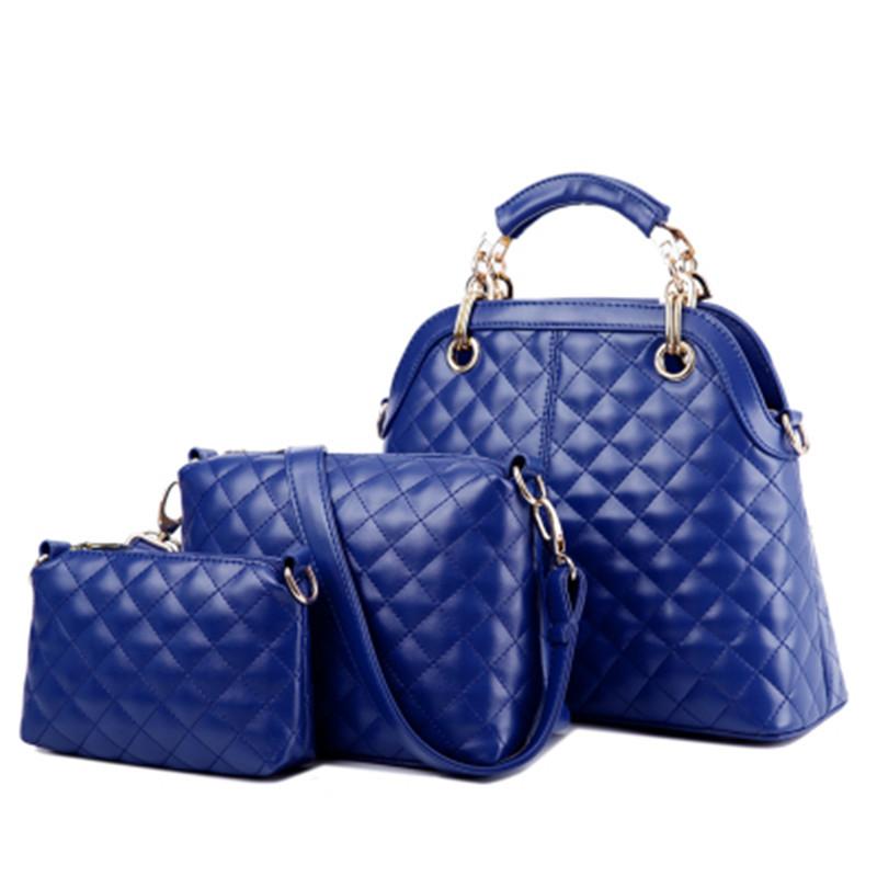 New 2015 women handbags leather handbag women messenger bags ladies brand designs bag bags Handbag+Messenger Bag+Purse 3 Sets(China (Mainland))