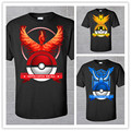 2016 summer fashion Pokemon Go print round neck short sleeve black Men s T shirt top