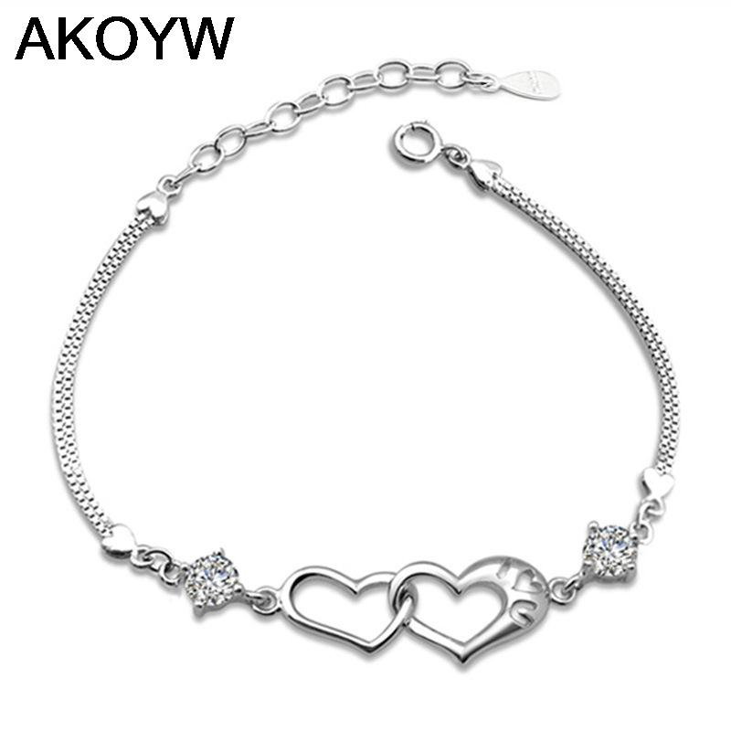 Silver plated double heart linked bracelet female models wild fashion jewelry retro cute super flash jewelry amethyst 17.5CM(China (Mainland))