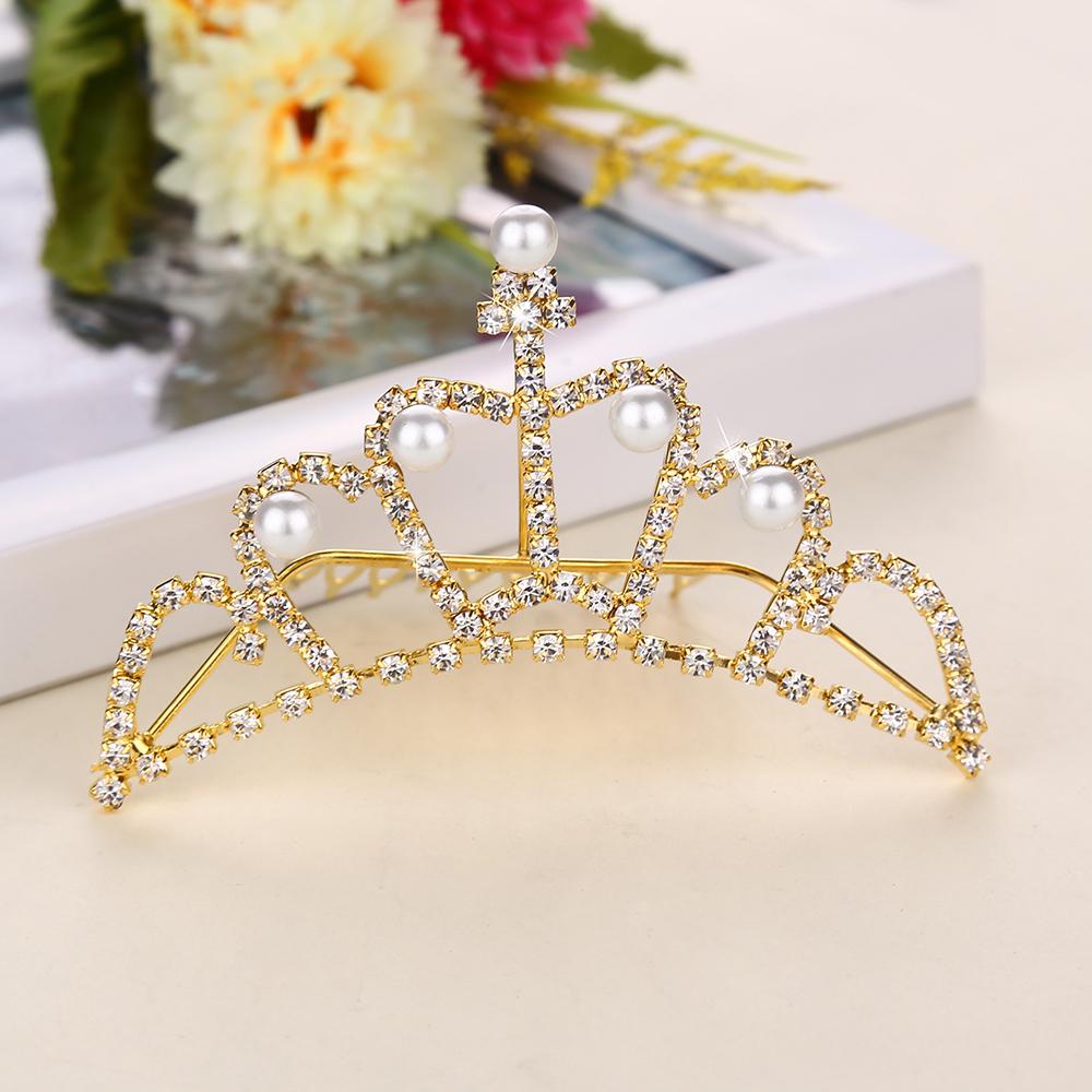 2015 New Arrival Romantic Hair Combs 18k gold Tiara jialiangmei Factory Direct Fashion Noble Princess Crown African BeadsCS-0003(China (Mainland))