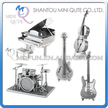 Mini Qute Piece Fun 3D musical instrument Electric Guitar Drum Set Piano Bass FiddleI Metal Puzzle adult models educational toy