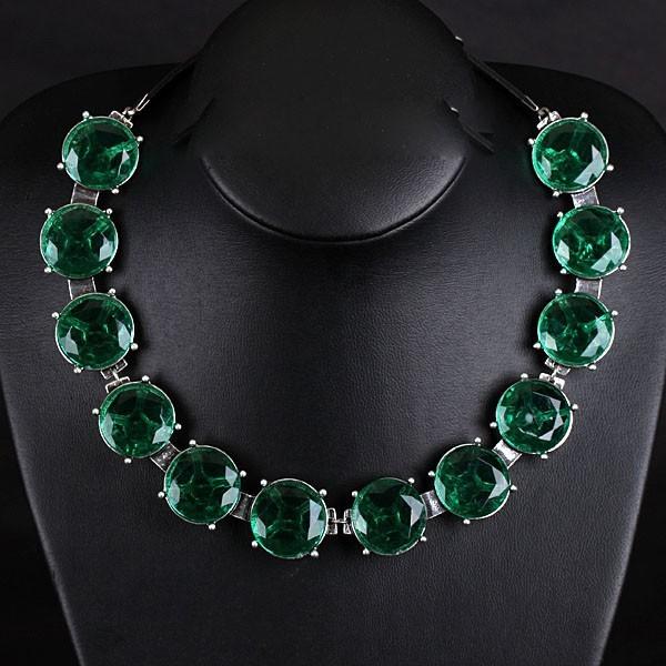 Fashion Green Rhinestone Bead Belt Leather Chain Women Choker Necklace Cheap Bib Adjustable Necklace Party Statement Jewelry(China (Mainland))