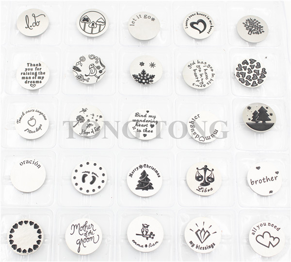 316L Stainless Steel Plates for 30mm Floating Charm Lockets(50 Styles, MOQ:10 pcs/style, 100 pcs/lot)(China (Mainland))