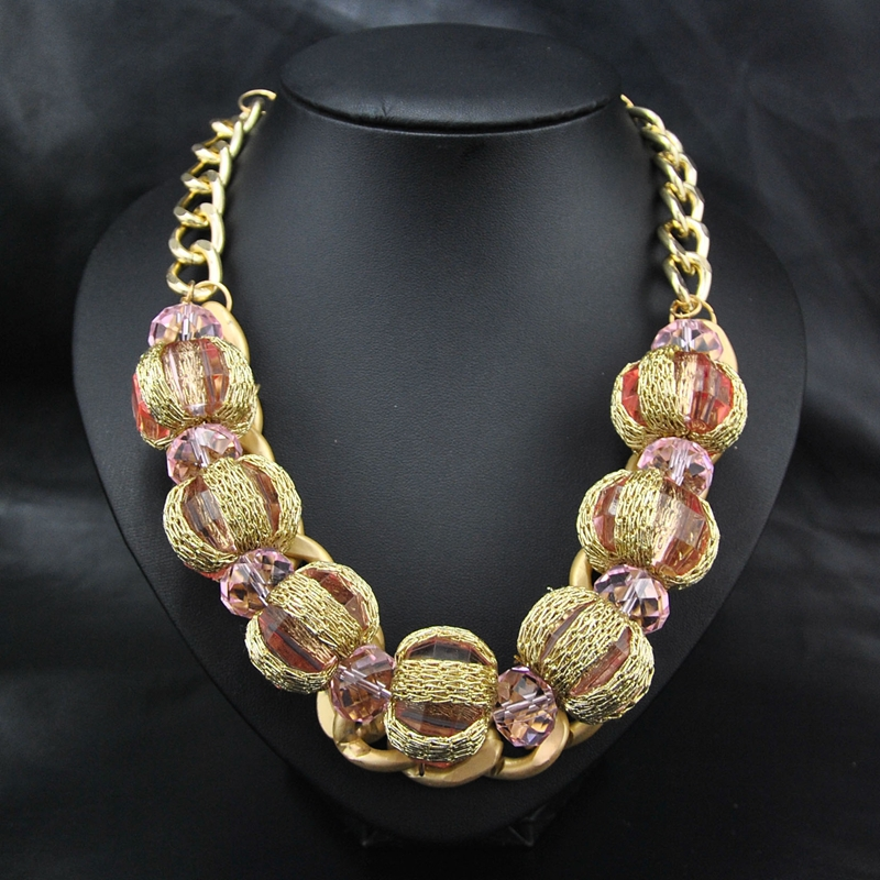 New Wholesale African Style Fashion Women Costume Jewelry Gold Chain Collar Pink Beads Choker