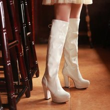 Big size  New arrived Sexy style Patent leather Pleated Platforms knee high boots for womens pumus  LLSL-S-2(China (Mainland))