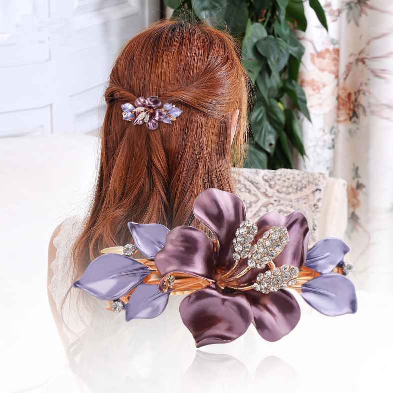 South Korea Horsetail Flower Crystal Hair Clip Luxury Austria Rhinestone Hair Up Barrettes Girl Fashion Spring Clip Accessory(China (Mainland))
