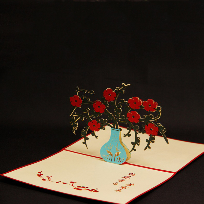 (10 pieces/lot)Kirigami 3D Pop Up Four Gentlemen of The Flowers Greeting Card Three-dimensional Plum Business Card Free Shipping<br><br>Aliexpress