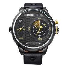 Weide WH-3409 hombre del cuero genuino de la correa de dos zonas de tiempo Display de cuarzo reloj deportivo – negro + amarillo