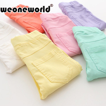 WEONEWORLD 2016 Summer Elestic Waist Children Pants Girls Jeans Pants Candy Color Solid Causal Jeans For Baby Girl Leggings(China (Mainland))