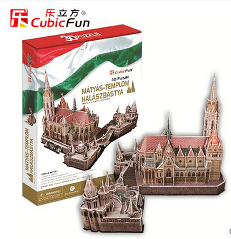 3D paper puzzle diy educational toys large puzzle famous buildings over the world MATTHIAS CHURCH FISHERMAN'S BASTION(China (Mainland))