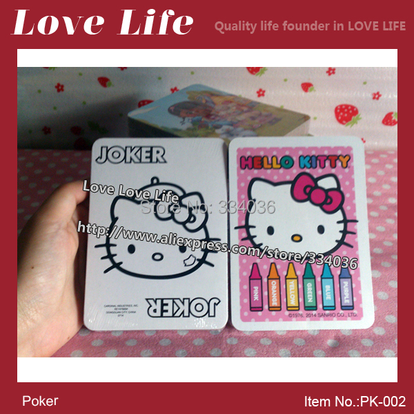 Free shipping!Fun game Hello Kitty cartoon playing card 54pcs poker can painting poker cards NO BOX PK-002(China (Mainland))