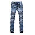 2016 Street Fashion Men s Slim Distressed Jeans Runway Biker Motorcycle Jeans MidWaist Acid Jeans Trousers