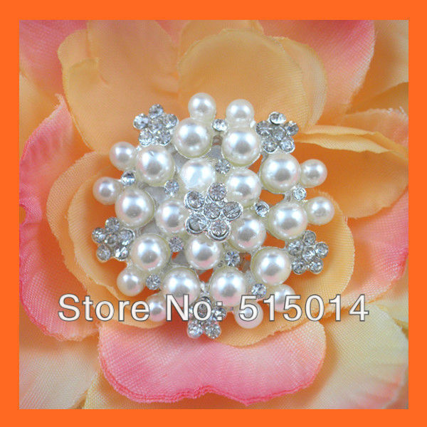Free Shipping ! 100pcs/lot 30mm Pearl&Rhinestone Cluster ,Rhinestone Embellishment ,Wedding Invitation Buckle,bouquet buckle