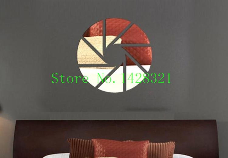 35x35cm(12.8x12.8in)Free Shipping Simple Geometry Wall Stickers Crystal Mirror Three-dimensional Home Decoration