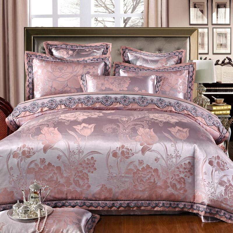 Wholesale Ivarose Luxury Jacquard Silk Bed Linen Grey Silver Gold Satin Bedding Set Bedspread Queen King Size Duvet Cover Sheet Set 4 Bedding Deals