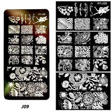1 PC การออกแบบเล็บปั๊มแผ่นเล็บปีใหม่คริสต์มาสหิมะและฮาโลวีน Stencil เล็บ Art Manicure แม่แบบ(China)
