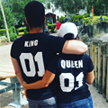 The Summer Style Men women s Casual Lovers t shirt QUEEN KING Letter Printed Couple Fashion