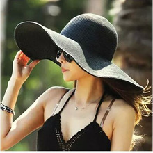 2015 Summer Women's Foldable Wide Large Brim Beach Sun Hat Straw Beach Cap For Ladies Elegant Hats Girls Vacation Tour Hat(China (Mainland))