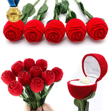 5 pcs Novelty Red Rose Engagement Wedding Ring Box Earrings Pendants Jewelry Case Hot(China (Mainland))