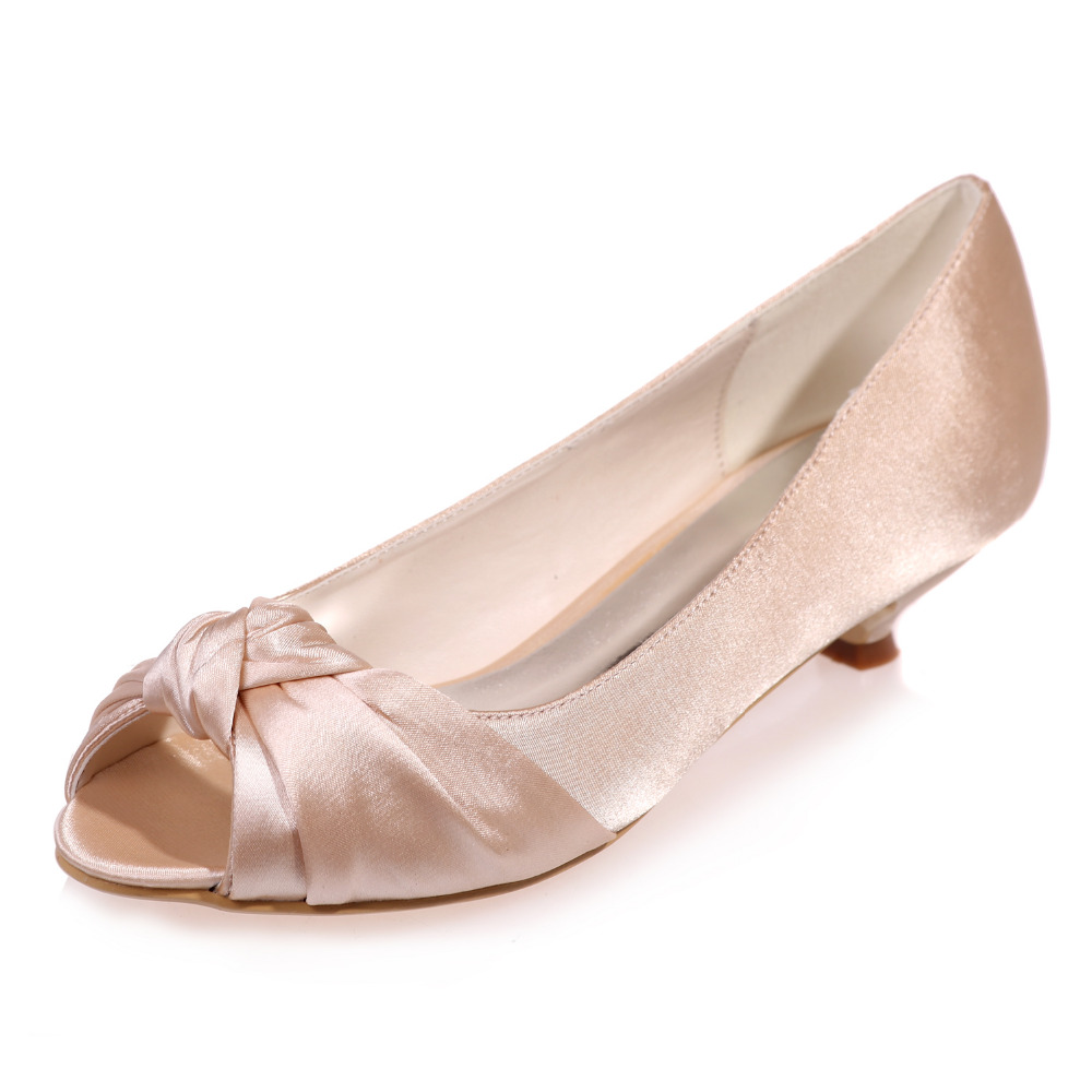 Silver Satin Shoes Low Heel