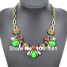 European and American fashion necklace women's fashion crystal pendant necklace insects rhinestone necklace with free shipping(China (Mainland))