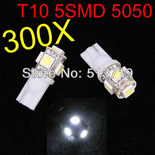 Free shipping Wholesale Wholesale 300pcs white 194 168 192 W5W T10 5 smd w5w 5050 led super bright Auto led car lights<br><br>Aliexpress