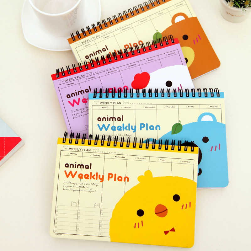 Cute Animal Weekly Planner Schedule Book Office Notebook Notepad Diary School Supplies Stationery - Rainbow's store