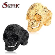 Steel soldier New Vintage Garden Flower Skull ring Black TITANIUM Mens Rings Fashion Jewelry Wholesale Price BR8-071(China (Mainland))