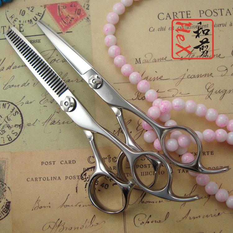 "Фотография Professional hair scissors set including 5.5"" hair cutting scissors and 30 teeth thinning scissors  Free case"