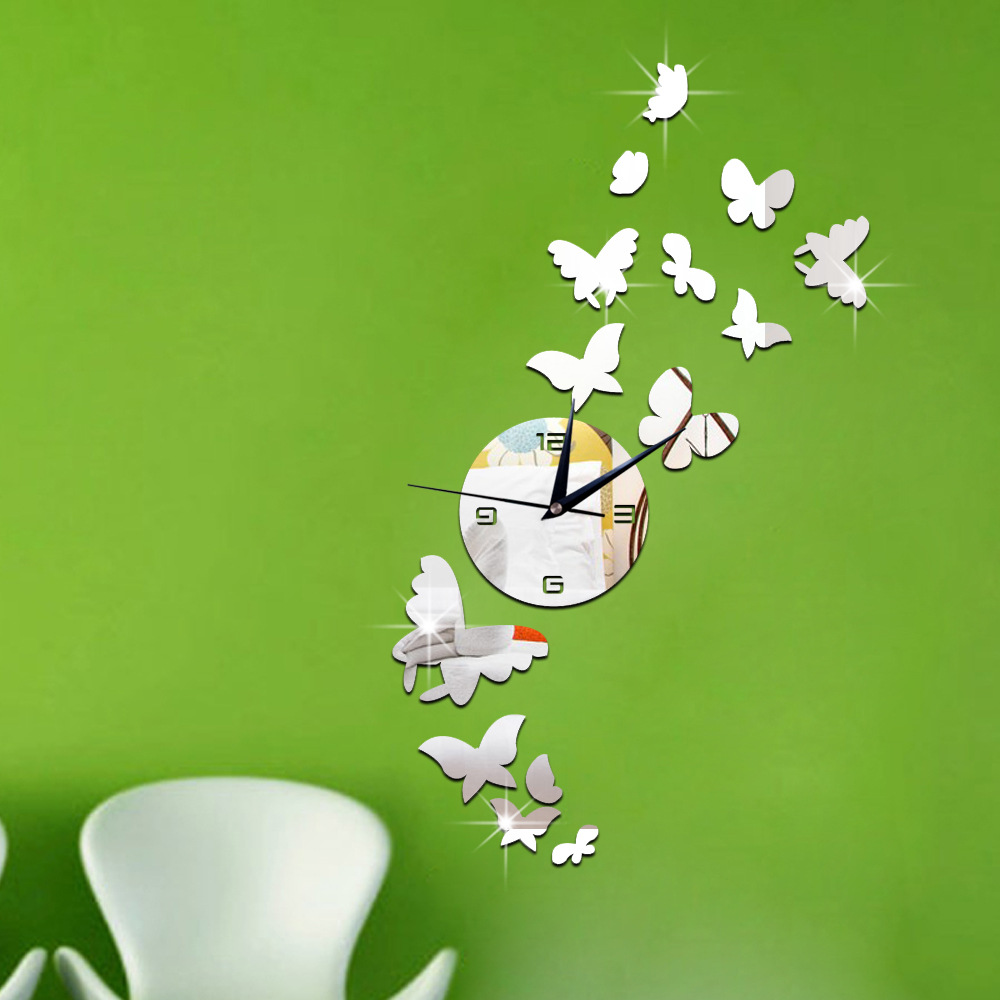 3D DIY Butterfly wall Clock Sticker Large Wall Watch reloj Modern Design Living Room Saat relogio de parede Rushed Mirror(China (Mainland))