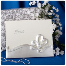 White elegant flower wedding guest book