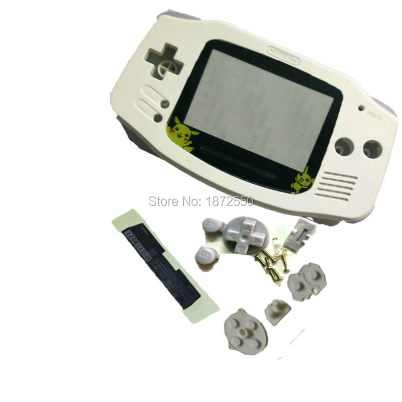Hot Sale White Color Pikachu Plastic Lens For Gameboy Advance GBA Console Shell Case With Rubber Pads Screws Buttons Lens(China (Mainland))
