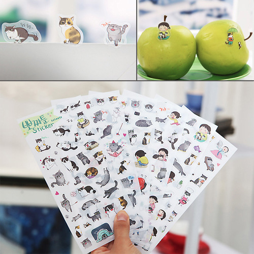 Гаджет  Free Shipping 2015 New South Korea Transparent Pvc Stickers Cute Cat Diary Photo Album Stickers S320 None Офисные и Школьные принадлежности