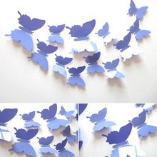 12Pcs/Set Pvc Butterfly 3D Vintage Wall Sticker For Kids Living Rooms Wallpaper Poster Bathroom Flowers Wall Stickers Decals L01(China (Mainland))