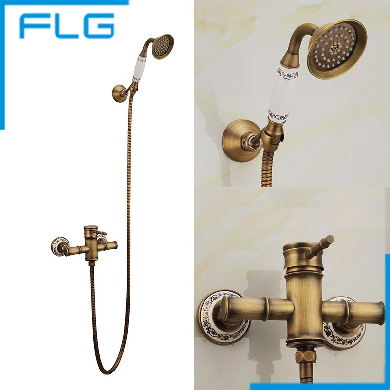 Antique and Ceramic Brass Bathroom Bath Faucet Wall Mounted Hand Held Shower Head Kit Shower Faucet Sets FLG40006A(China (Mainland))