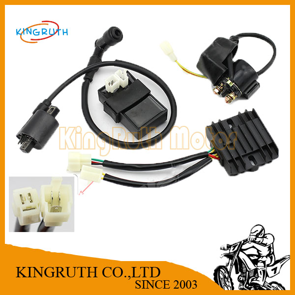 KR LONCIN LIFAN ZONGSHEN DC Fired Ignition Coil + CDI + Rectifier Regulator + Solenoid Relay Fit ATV Quad Moto Free Shipping(China (Mainland))