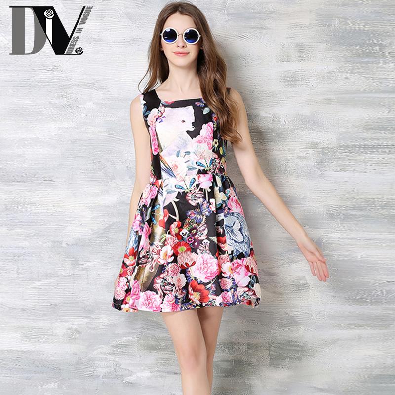 DIV Sleeveless Vintage Print Dresses For Women Square Collar Casual Dresses Summer Empire Tank Multicolor Vestidos Plus Size(China (Mainland))
