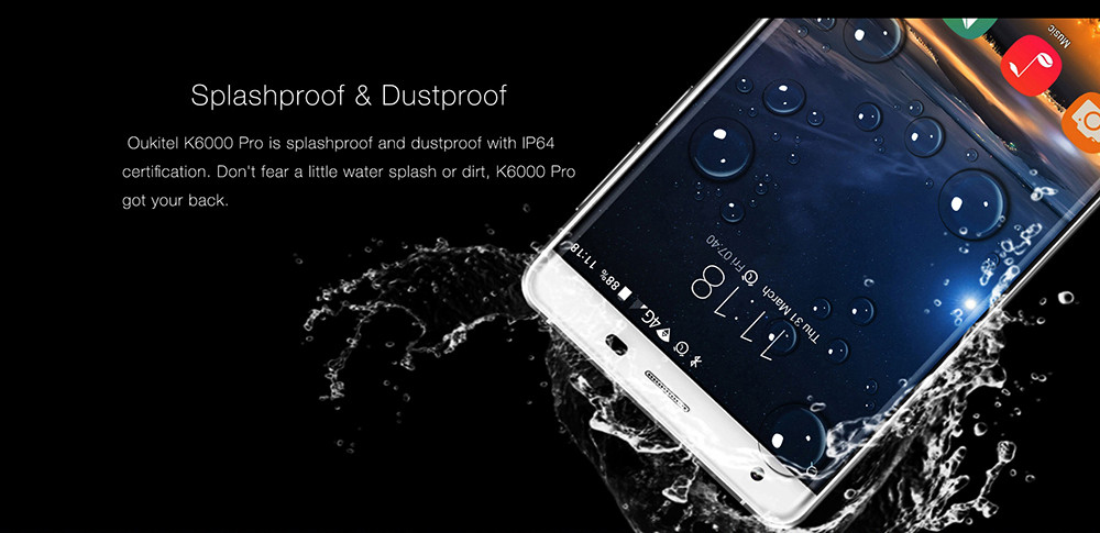 Original Oukitel K6000 PRO 6000mAh FDD LTE Octa Core Mobile Phone 5.5″ 3GB+32GB Fingerprint 16.0MP 1920*1080P 2.5D Curved Screen