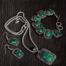 1 Set Retro Antique Silver Emerald Jewelry Sets for Women Square Pendant Necklace Turquoise Bracelet Earrings Set Free Shipping(China (Mainland))