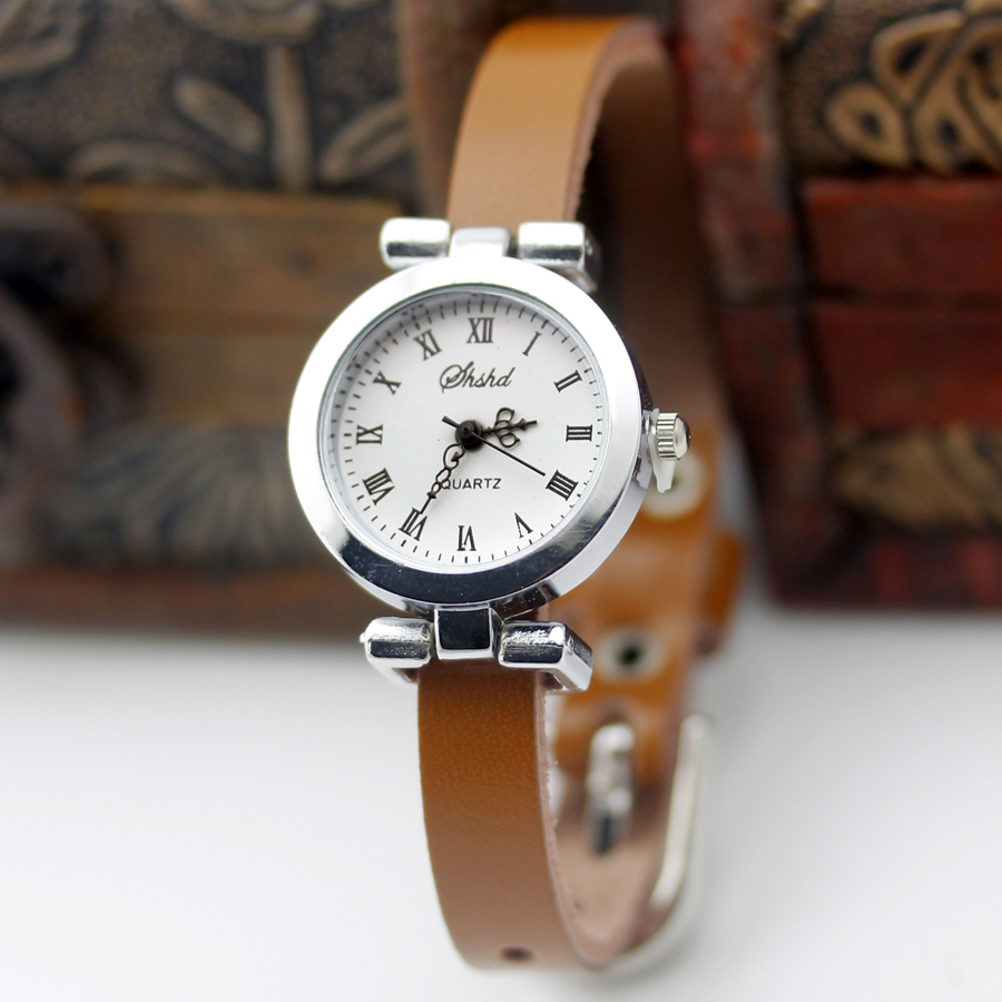 New fashion hot-selling Genuine leather female silver watch ROMA vintage watch women dress watches(China (Mainland))
