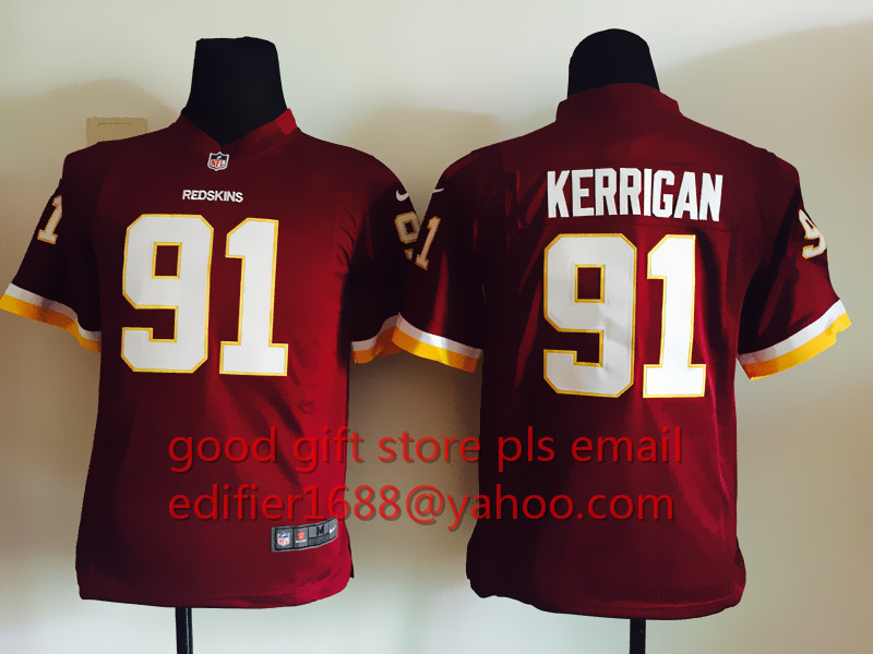 100% stitch youth Washington Redskins children 44 John Riggins 11 DeSean Jackson 91 Ryan Kerrigan Embroidery Logos size S to XL(China (Mainland))