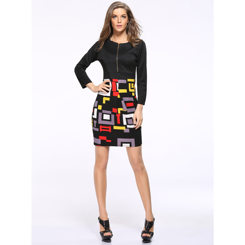 2016 S-XXXL Fashion design women slim dress patchwork vogue geometric print ladies pencil vestidos girls casual bodycon dresses(China (Mainland))