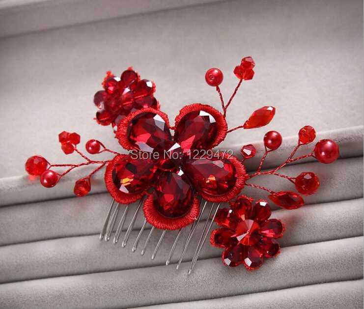 Charming Handmade Lovely Red Crystal Pearl Beads Lace Flower Bridal Wedding Tiara Hair Combs Hair Jewely Wedding Accessories(China (Mainland))