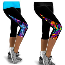 2016 Women Leggings High Waist Fitness Sport  Printed Pants Stretch Cropped Sport Leggings Casual Miti-Colors Only the Leggings(China (Mainland))