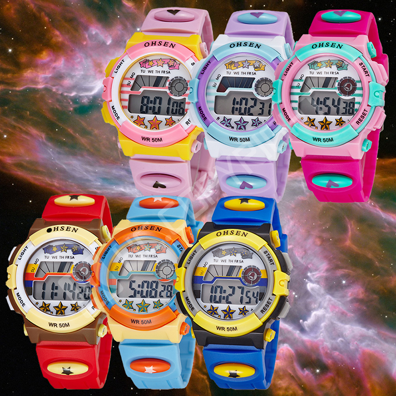 Candy Colors 2016 Ohsen Digital Quartz Colorful Wrist Watch Kids Girls 30M WR Silicone Strap LCD Back Light Alarm Clock(China (Mainland))