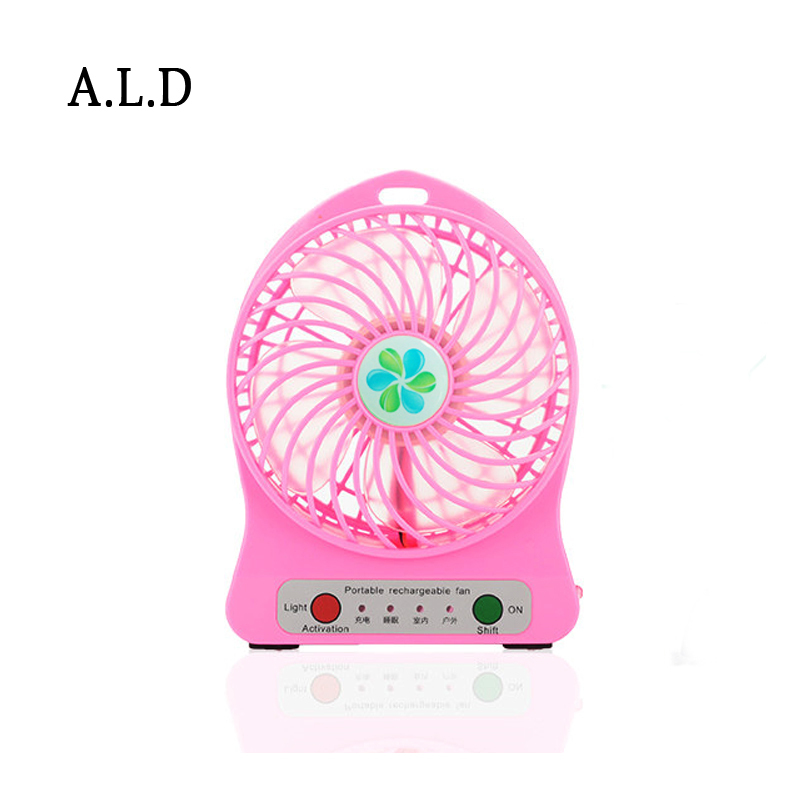 Portable Rechargeable USB Ventilator Desk Mini Fan Handheld Travel Blower Air Cooler,White/Pink/Green/Purple without battery(China (Mainland))
