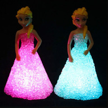 New Kids Toys Elsa/ Anna LED Colorful Lights gradient crystal Night Light Led Lamp with battery toy christmas holiday gift(China (Mainland))