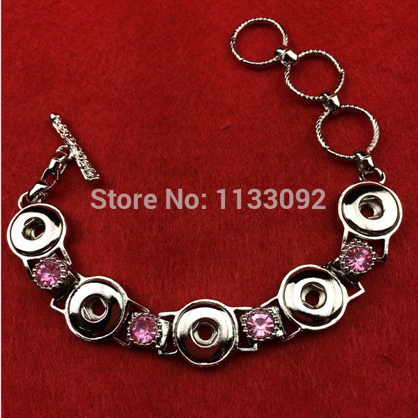 1 New Design 5 button crystal rhinestone metal silver chain snap bracelet fit 12mm mini ginger jewelry women - YY Jewelry Store store