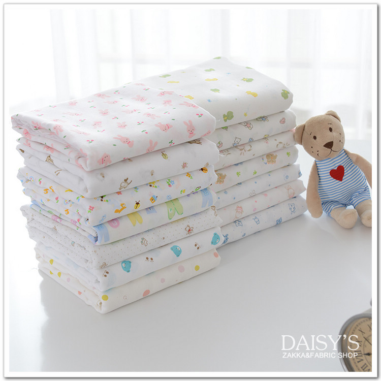 2015 New Double Cotton Cloth Fabrics Tulle High Quality 2pc 170*50cm 100% cotton jersey fabric Organic Bedding Baby Diapers(China (Mainland))