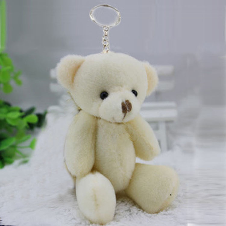 6 12CM cream white jointed mini teddy bear small keychain /cartoon bouquet toy/wedding gifts t - JNJ Plush Toy Co. store
